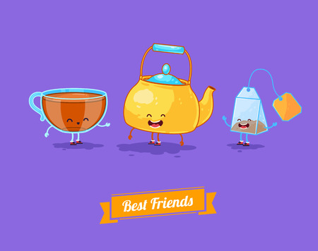 Vector funny cartoon. Funny teapot, cup and teabag. Best friends Illustration