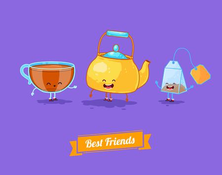 mejores amigas: Vector de dibujos animados divertido. Tetera divertido, taza y la bolsita de té. Mejores amigos