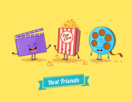 Vector funny cartoon. Funny popcorn, clapboard and film. Best friends