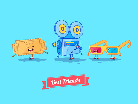Vector funny cartoon. Funny camera, ticket, and glasses. Best friends Illustration