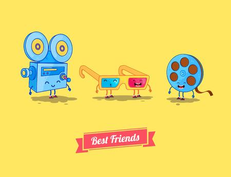 camera film: Vector funny cartoon. Funny camera, film and 3d glasses. Best friends Illustration