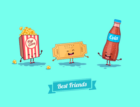 movie and popcorn: Vector funny cartoon. Funny camera, ticket, and glasses. Best friends Illustration