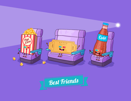 Vector funny cartoon. Funny camera, ticket, and glasses. Best friends Ilustracja