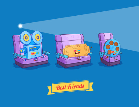 Vector funny cartoon. Funny camera, film and glasses. Best friends
