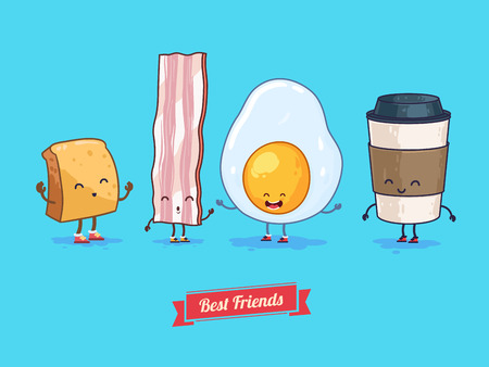 Vector funny cartoon. Funny cup, egg, bacon, croissant.  Best friends.