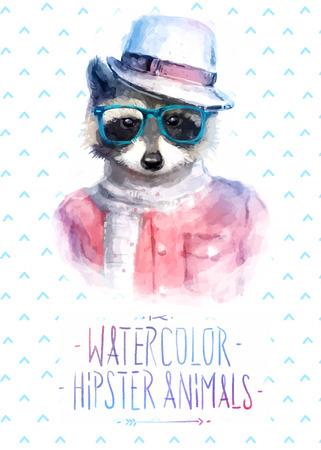 animali: Illustrazione vettoriale di raccoon ritratto in occhiali da sole e pullover, stile retrò, pantaloni a vita bassa sguardo