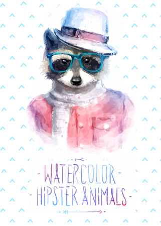 Vector illustration of raccoon portrait in sunglasses and pullover, retro style, hipster look