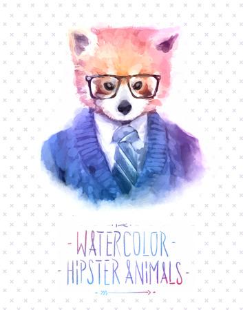 furry animals: Ilustración del vector del retrato rojo panda en gafas de sol y jersey, estilo retro, mirada inconformista