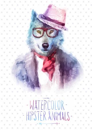 animali: Illustrazione vettoriale di lupo ritratto in occhiali da sole e pullover, stile retrò, pantaloni a vita bassa sguardo