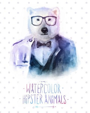 cute animals: Vector illustration of bear portrait in sunglasses and pullover, retro style, hipster look
