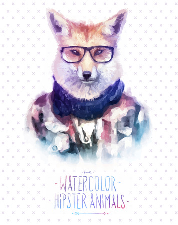 Vector illustration of red fox portrait in sunglasses and pullover, retro style, hipster look