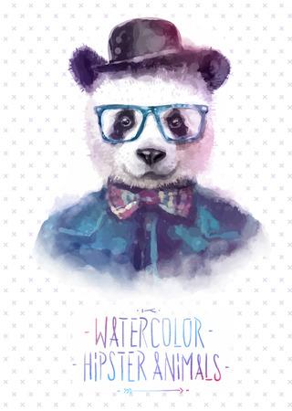moda: Illustrazione vettoriale di panda ritratto in occhiali da sole e pullover, stile retrò, pantaloni a vita bassa sguardo