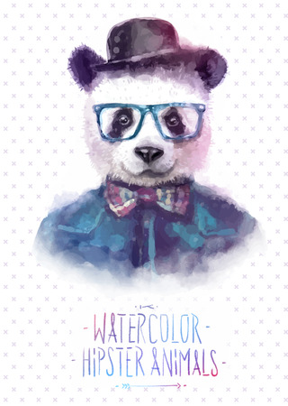 Vector illustration of panda portrait in sunglasses and pullover, retro style, hipster look Çizim