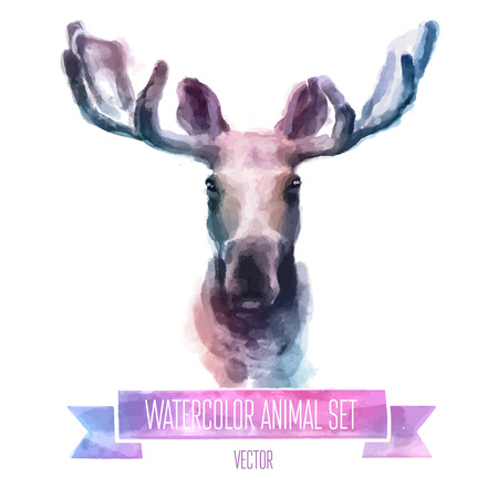 animals horned: Vector set of watercolor illustrations. Cute elk