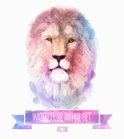 head of animal: Vector set of watercolor illustrations. Cute lion