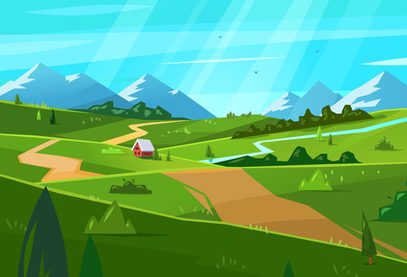 Natural landscape. Vector illustration. Stock Photo