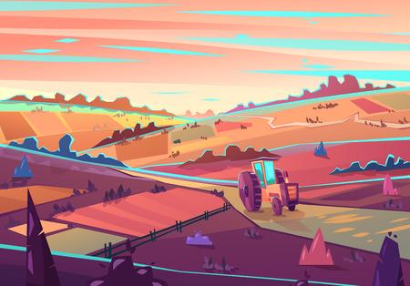 mountain road: Rural landscape. Vector illustration.