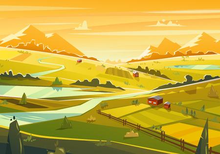 táj: Vidéki táj. Vektoros illusztráció.