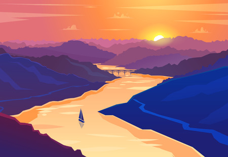 Sunset landscape. Vector illustration. Çizim