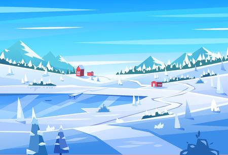 冬の風景。ベクトルの図。