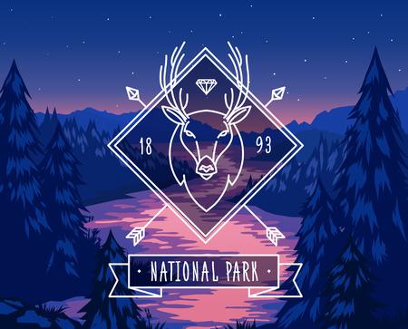 alpine: National park typography design on vector background Illustration