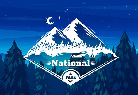 arbres silhouette: Parc national de la conception de la typographie sur fond vecteur Illustration