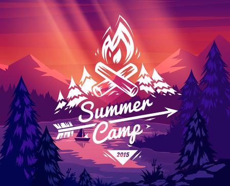 landschaft: Sommercamp Typografieentwurf auf Vektor-Hintergrund Illustration