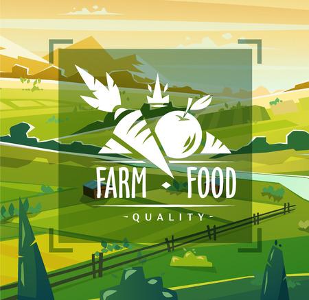 ファーム食品タイポグラフィ デザインのベクトルの背景  イラスト・ベクター素材