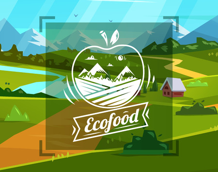 Eco food typography design on vector background