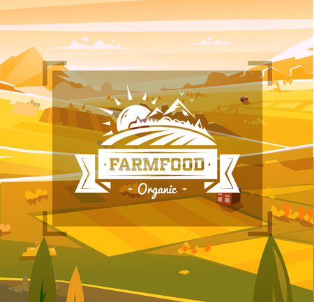 Farm food typography design on vector background