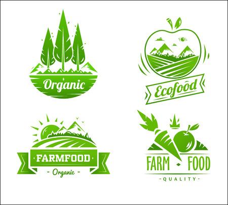 granja: Dise�o de la granja de la tipograf�a de alimentos en el fondo blanco Vectores