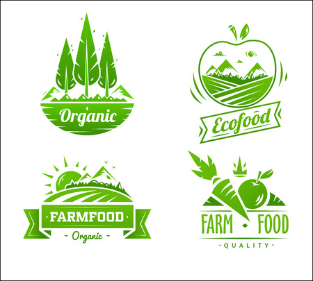 farm sign: Farm food typography design on white background