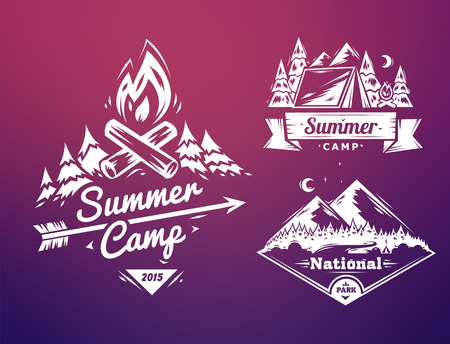 woods: Summer camp and national park  typography design on colored background