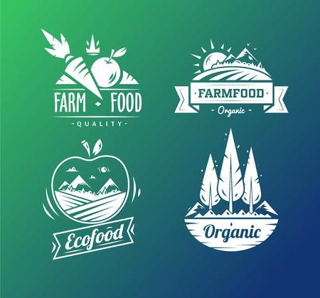 logo de comida: Diseño de la granja de la tipografía de alimentos en el fondo blanco Vectores