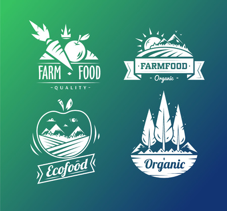 Farm food typography design on white background