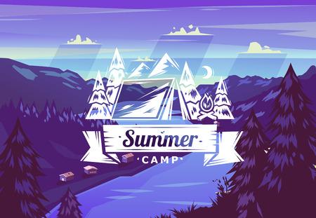 벡터 배경 여름 캠프 타이포그래피 디자인 일러스트