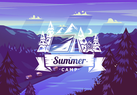 Summer camp typography design on vector background