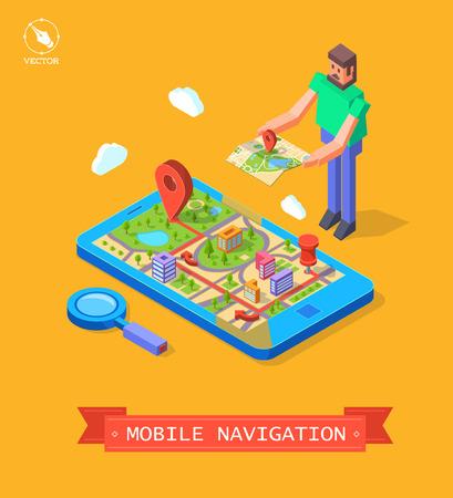 Vector illustration of GPS in mobile. Navigation Vector