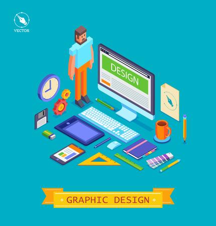 designer colors: Vector isometric  illustration icons set of graphic designer items