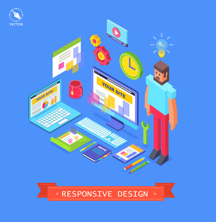flexible business: Vectoor modern flat design in responsive design Illustration