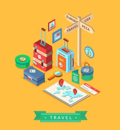 maleta: Isométrico verano plantilla de diseño creativo. Conjunto de elementos que viajan. Vectores
