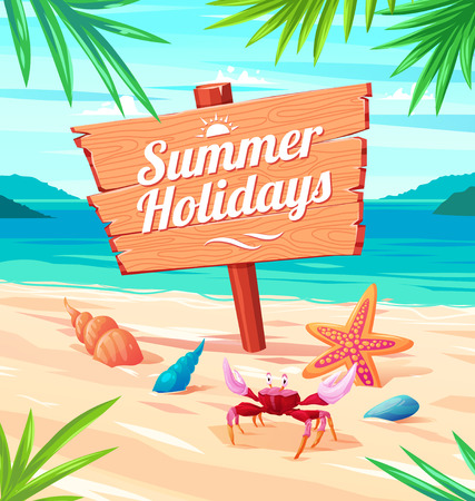 summer beach: Beautiful seaside view on sunny day with sand, shells and palm leaves. Summer holidays vector background.
