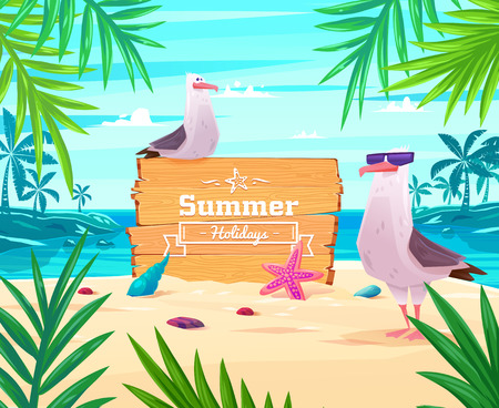 Beautiful seaside view on sunny day with seagull, sand, shells and palm leaves. Summer holidays vector background.