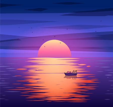 barco caricatura: Un bote de vela con Misty Sunset y Reflexión sobre el Agua