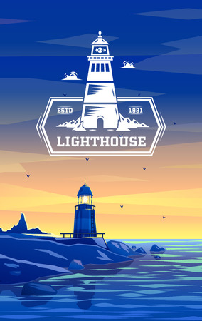 beacons: Vector lighthouse logo design template in trendy style - abstract emblem and badge - navigational and travel concept