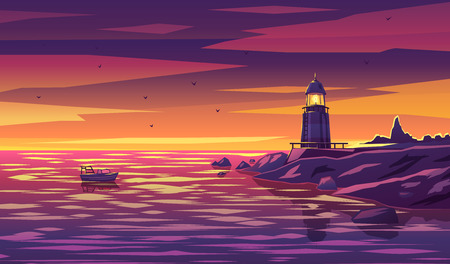 Vector lighthouse design template in trendy style  navigational and travel concept Illustration