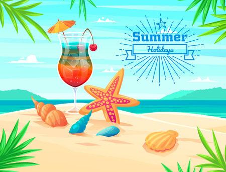 coctail: Summer holidays illustration - sea inhabitants on a beach sand against a sunny seascape and coctail