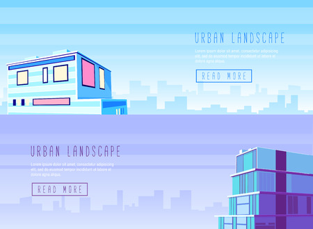 urban architecture: Flat design modern vector illustration icons set of urban landscape and city life. Building icon