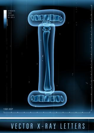 letras negras: Vector 3D X-ray alfabeto transparente Letra I Vectores