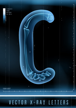Vector 3D X-ray transparent alphabet Letter C Иллюстрация